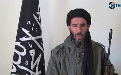 This image, taken from video provided by the SITE Intel Group made available January 17, 2013, purports to show militant militia leader Mokhtar Belmokhtar. (AP/SITE Intel Group)