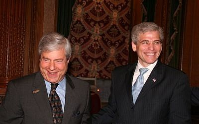Former Met Council CEO William Rapfogel, right, shown with Brooklyn Borough President Marty Markowitz (photo credit: JTA)