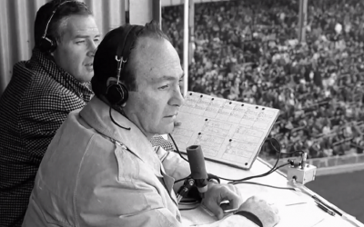 Marty Glickman, shown broadcasting a baseball game. (HBO via JTA)