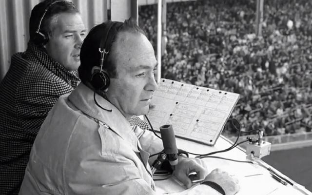 Marty Glickman, shown broadcasting a baseball game. (HBO via JTA)