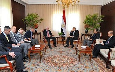 Interim Vice President Mohamed Elbaradei, center right, meeting with U.S. senators John McCain, center left, and Lindsey Graham, fifth from left, with U.S. Ambassador to Egypt Anne Patterson, fourth from left, in Cairo, Egypt, Tuesday, Aug. 6, 2013.  (photo credit: AP Photo/Egyptian Presidency)