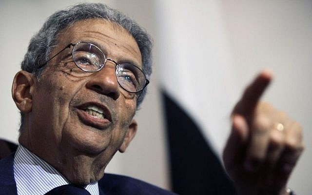 Amr Moussa speaks during an interview with the Associated Press in Cairo, Egypt, on Aug. 6, 2013 (photo credit: AP/Amr Nabil)