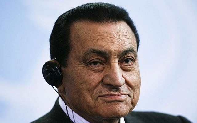 Former Egyptian president Hosni Mubarak, pictured in March 2010 (photo credit: AP/Markus Schreiber/File)