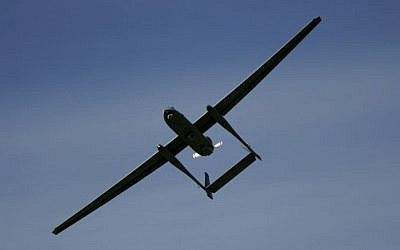 The Eitan drone, also known as the Heron TP flies during a display at the Palmahim Air Force Base in Israel, March 7, 2007. (AP/Ariel Schalit/File)