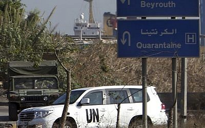 A vehicle with UN experts on board in a convoy following their investigation in Syria after they crossed into Lebanon on their way to Beirut international airport, in Beirut, Lebanon, Saturday, Aug. 31, 2013. (Photo credit: AP/Hussein Malla)