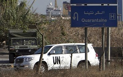 A vehicle with UN experts on board in a convoy following their investigation in Syria after they crossed into Lebanon on their way to Beirut international airport, in Beirut, Lebanon, on Saturday, August 31, 2013. (photo credit: AP/Hussein Malla)