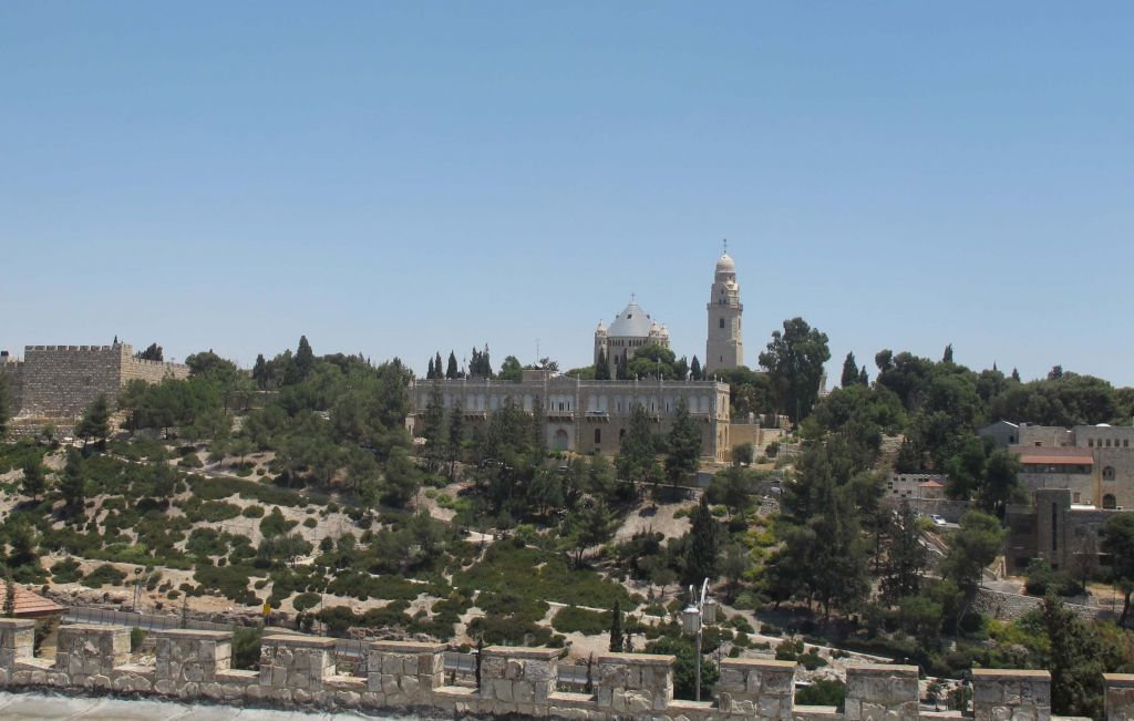 Taking a look at the city from the first Jewish neighborhood (photo credit: Leeor Bronis/Times of Israel)