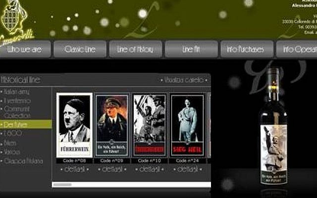 Website of Italian winemakers showing their series featuring Hitler and other dictators. (photo credit: screen capture)