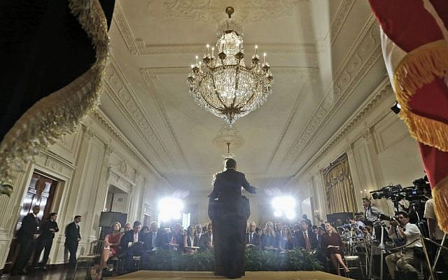US President Barack Obama answers questions during his news conference in the East Room of the White House in Washington on Friday, Aug. 9, 2013. (photo credit: AP Photo/Pablo Martinez Monsivais)