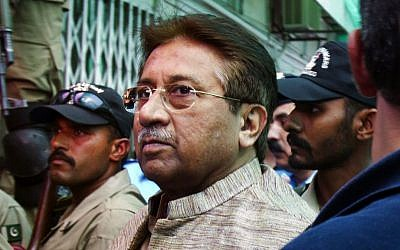 Pakistan's former president and military ruler Pervez Musharraf arrives at an anti-terrorism court in Islamabad, Pakistan, in April (photo credit: AP/Anjum Naveed/File)