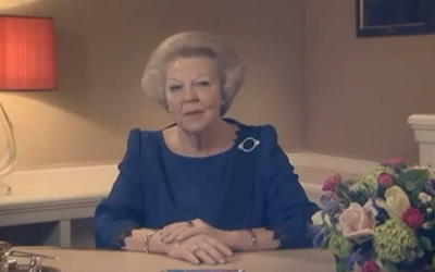 Queen Beatrix delivers her abdication speech on Dutch TV in April. (photo credit: YouTube)