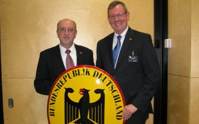Near the start of his career, Schuette (right) completed a formative early posting in Tel Aviv. (Courtesy of Rolf Schuette)