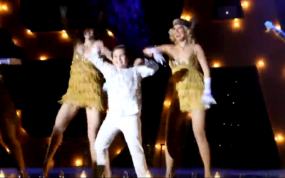 Adult backup dancers join Sam Horowitz for his grand entrance at his 2012 bar mitzvah party. (photo credit: screenshot/YouTube)