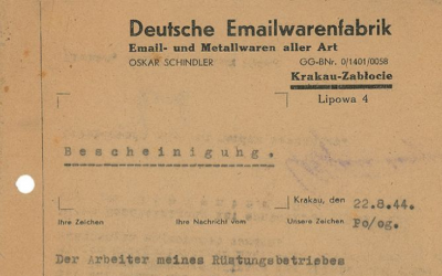 The 1944 letter up for auction helped secure the safety of Oskar Schindler's Jewish factory workers during the Holocaust. (RR Auction)