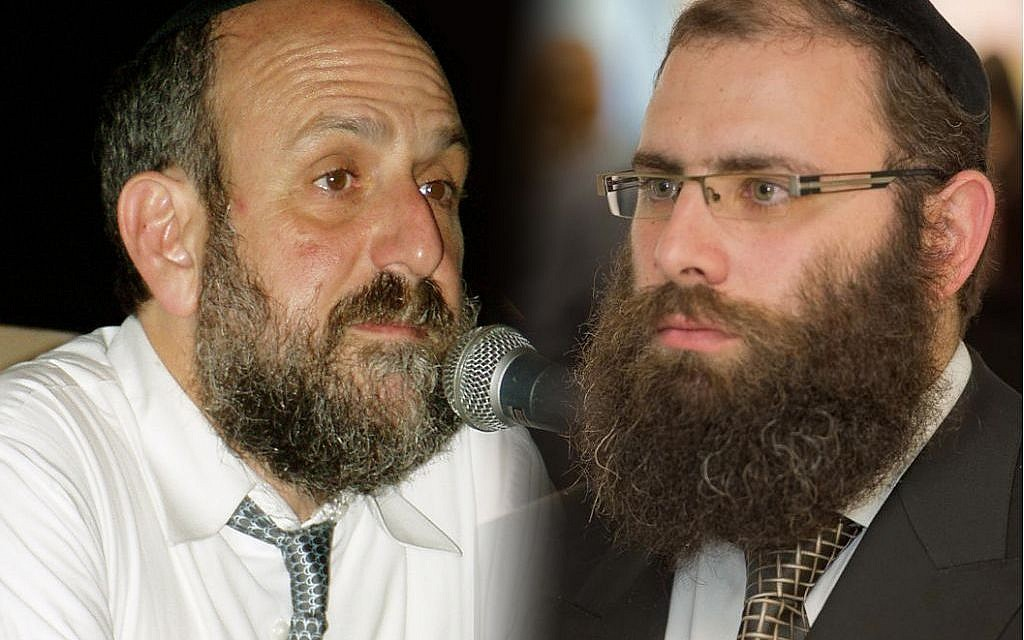 Polish Chief Rabbi Michael Schudrich, left, and Rabbi Menachem Margolin of the Chabad-affiliated Rabbinical Centre of Europe have been at odds publicly over Schudrich's handling of the kosher slaughter ban in Poland. (Creative Commons/Facebook via JTA)