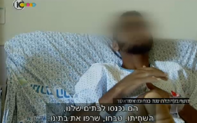 A Syrian patient named Bilal, injured in Daraa, southern Syria, speaks from his hospital bed in Israel (photo credit: Channel 10 screenshot)