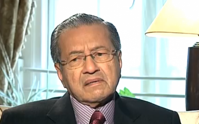 Former Malaysian prime minister Mahathir Mohamad during a recent interview (photo credit: YouTube screen grab)