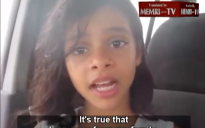 11-year-old Nada Al-Ahdal, who ran away from home to avoid a forced marriage, makes a video plea, in Yemen, July 8, 2013 (photo credit: screenshot via YouTube/MEMRI)