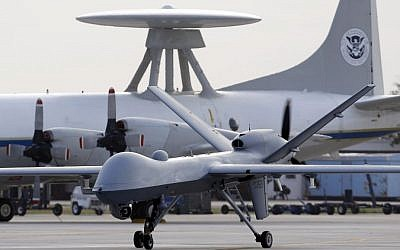 Illustrative photo of a US Predator B drone (photo credit: AP/Eric Gay/File)