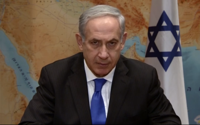 Prime Minister Benjamin Netanyahu speaking about Syria on Tuesday, August 27. (screenshot from YouTube)