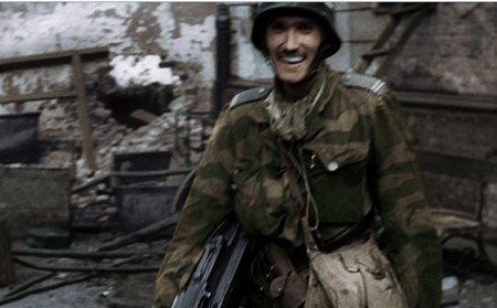 Frame grab made available by the Warsaw Rising Museum shows Witold Kiesun taken from snippets of historical footage from the 1944 Warsaw Uprising, enhanced by modern coloring and sound techniques (photo credit: AP/Warsaw Rising Museum)