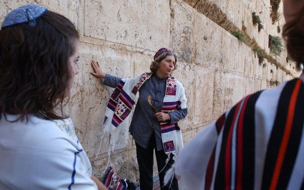 Women of the Wall chair Anat Hoffman at the Western Wall, August 18, 2004. (photo credit: Flash90)