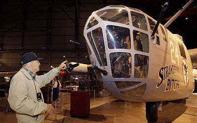 Jim McClain points to where he was positioned as a bombardier on a B24 bomber during the Ploesti Raid while touring the United States Air Force Museum, Wednesday, July 31, 2013, in Dayton, Ohio. (photo credit: AP Photo/Al Behrman)