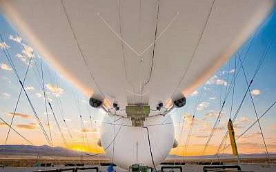 The underbelly of a JLENS aerostat. The 74 meter-wide airships will act as a 360 degree eye-in-the-sky. (Photo credit: Courtesy Raytheon)
