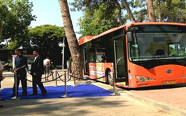 Dan's electric bus is displayed in Tel Aviv, Monday (photo credit: Screen shot, Globes)