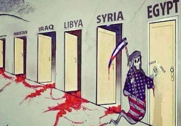A cartoon circulating on social media depicting the US and Israel as Death knocking on the Middle East and Egypt's doors (photo credit: Twitter screen cap)