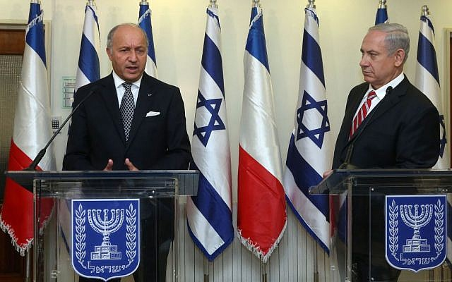 Prime Minister Benjamin Netanyahu meets with the foreign minister of France, Laurent Fabius, at the prime minister's office in Jerusalem, August 25, 2013 (Photo credit: Marc Israel Sellem/Pool/Flash90)