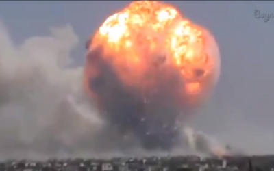 An explosion in the central Syrian city of Homs, August 1, 2013 (photo credit: YouTube screen cap, Baynetna News)