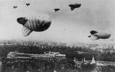 In London, barrage balloons essentially acted as barbed wire fences against Nazi propeller planes. (Photo credit: Courtesy Wikimedia Commons)