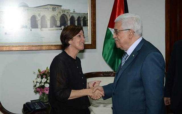 Meretz head MK Zahava Gal-on shakes hands with Abbas in a meeting in Ramallah on Thursday. (photo credit: via Facebook)