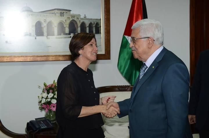 Meretz head MK Zehava Galon shakes hands with Mahmoud Abbas in a meeting in Ramallah. (photo credit: Via Facebook)