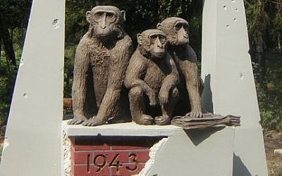Kharkov Zoo's survivor monkeys memorial (photo credit: Courtesy)