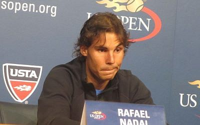 Rafa Nadal, volleying away The Times of Israel's Jewish question at Flushing Meadows on Thursday (photo credit: Howard Blas)