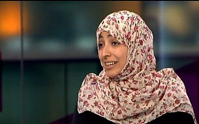 Yemen's Nobel Peace Prize winner Tawakkul Karman December 15, 2011. (screen capture: Youtube/Channel4News)