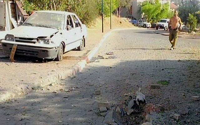 Damage from a rocket that fell near Nahariya, Thursday, August 22, 2013. (photo credit: screen capture/Channel 2)