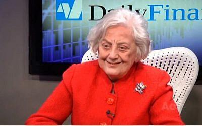 Muriel Siebert (photo credit: image capture from YouTube video)
