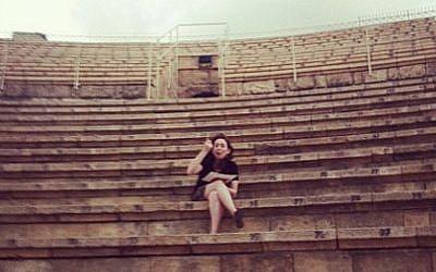Regina Spektor eating dinner on the steps of the Caesarea ampitheater before her show Saturday night (Courtesy Regina Spektor Facebook page)