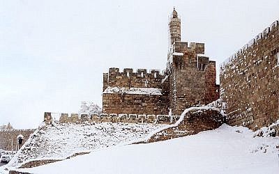 Tower of David in the snow, 1992, the Israeli finalist for the 2012 Wiki Monument competition (photo credit: Zev Rothkoff (Own work) [CC-BY-SA-3.0)