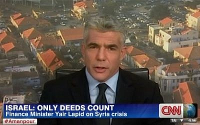 Yair Lapid speaks to CNN, Tuesday (photo credit: screen capture/CNN)