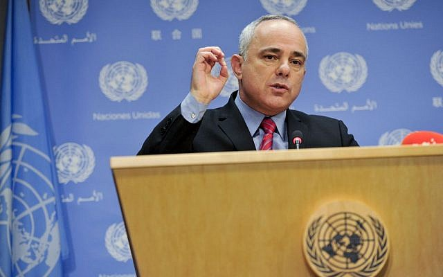 Yuval Steinitz at a press conference at the UN, September 24, 2013. (photo credit: UN Photo by Amanda Voisard)