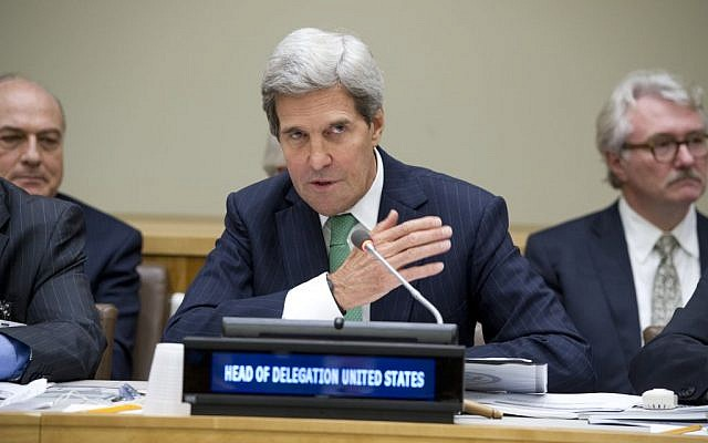 John Kerry speaking at a UN meeting on Wednesday, September 25. (photo credit: UN/Eskinder Debebe)