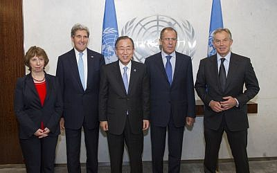 UN Secretary-General Ban Ki-moon meets with the members of the Middle East Diplomatic Quartet (from left): Catherine Ashton, European Union High Representative for Foreign Affairs and Security Policy; US Secretary of State John Kerry Sergey Lavrov, Minister for Foreign Affairs of the Russian Federation; and Tony Blair, Special Envoy of the Quartet, September 27, 2013. (Photo credit: UN Photo by Eskinder Debebe)