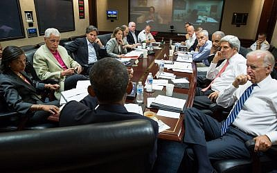 Barack Obama meeting with his National Security team Saturday. (photo credit: Pete Souza/Official White House)