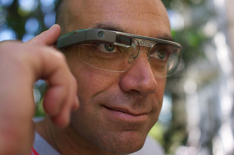 A Google Glass wearer (photo credit: Flickr: Loic Le Meur on Google Glass/Loic Le Meur/Wikipedia Commons)