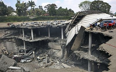 Collapsed upper car park of the Westgate mall in Nairobi, Kenya, on Thursday, September 26, 2013. (photo credit: AP/Kenya Presidency)