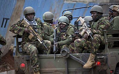 Illustrative photo of Kenyan soldiers (photo credit: AP/Ben Curtis)